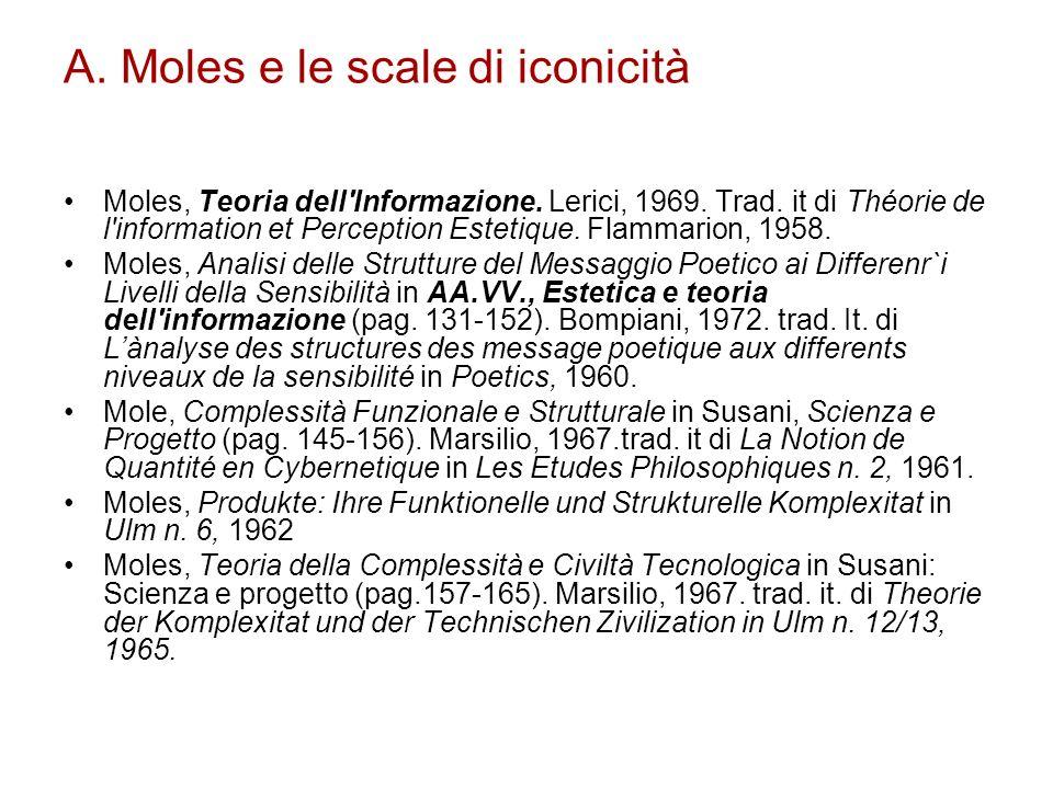 A. Moles e le scale di iconicità Moles, Teoria dell'Informazione. Lerici, 1969. Trad. it di Théorie de l'information et Perception Estetique. Flamma