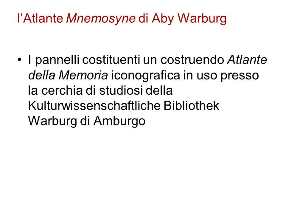 lAtlante Mnemosyne di Aby Warburg I pannelli costituenti un costruendo Atlante della Memoria iconografica in uso presso la cerchia di studiosi della K