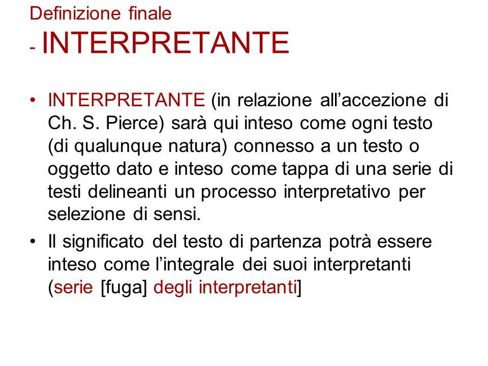 Definizione finale - INTERPRETANTE INTERPRETANTE (in relazione allaccezione di Ch. S. Pierce) sarà qui inteso come ogni testo (di qualunque natura) co