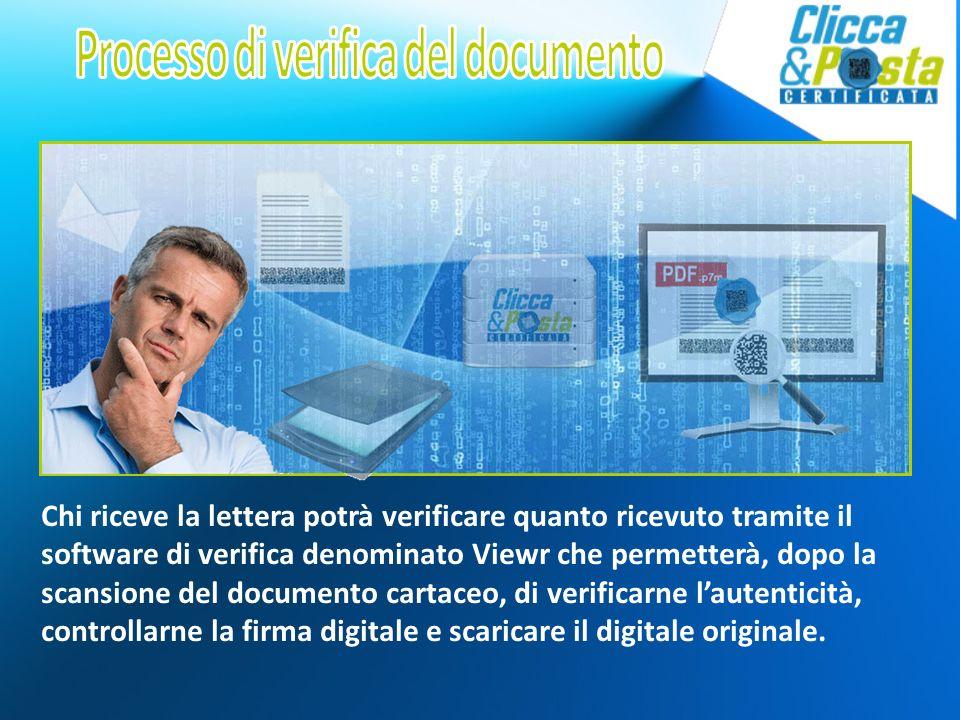 Chi riceve la lettera potrà verificare quanto ricevuto tramite il software di verifica denominato Viewr che permetterà, dopo la scansione del documento cartaceo, di verificarne lautenticità, controllarne la firma digitale e scaricare il digitale originale.
