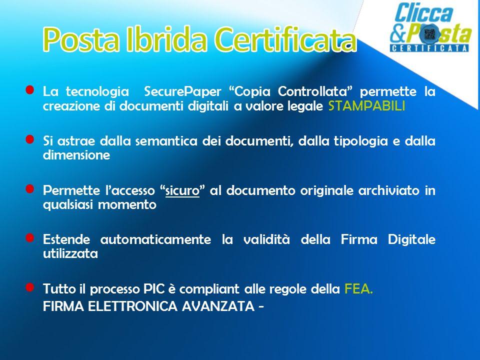 La tecnologia SecurePaper Copia Controllata permette la creazione di documenti digitali a valore legale STAMPABILI Si astrae dalla semantica dei docum