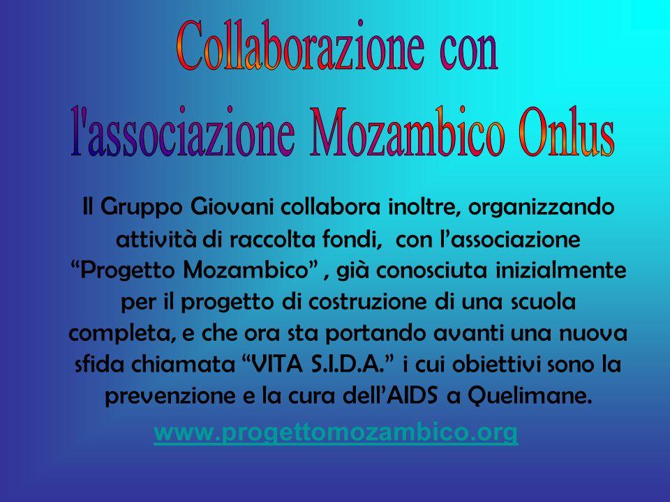 Il Gruppo Giovani collabora inoltre, organizzando attività di raccolta fondi, con lassociazione Progetto Mozambico, già conosciuta inizialmente per il