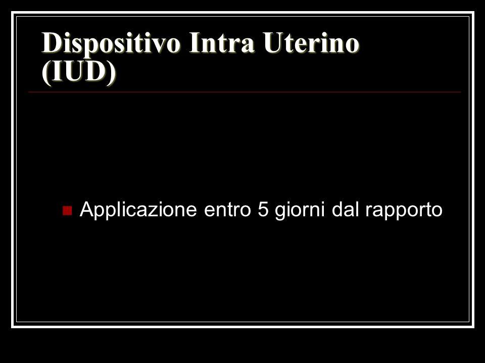Dispositivo Intra Uterino (IUD) Applicazione entro 5 giorni dal rapporto