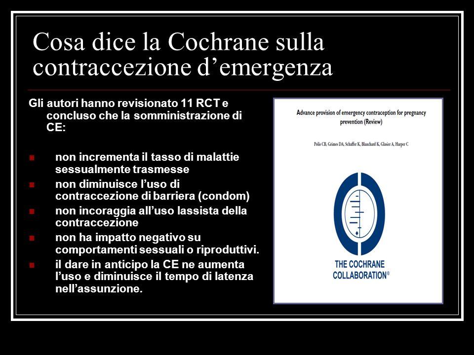 Cosa dice la Cochrane sulla contraccezione demergenza Gli autori hanno revisionato 11 RCT e concluso che la somministrazione di CE: non incrementa il