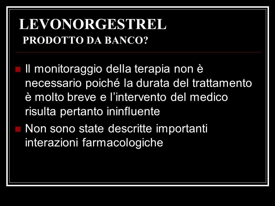 LEVONORGESTREL PRODOTTO DA BANCO? Il monitoraggio della terapia non è necessario poiché la durata del trattamento è molto breve e lintervento del medi