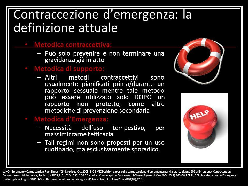 Contraccezione demergenza: la definizione attuale Metodica contraccettiva: –Può solo prevenire e non terminare una gravidanza già in atto Metodica di