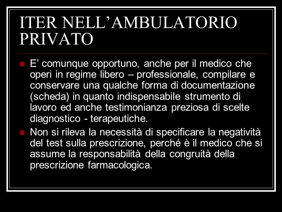 ITER NELLAMBULATORIO PRIVATO E comunque opportuno, anche per il medico che operi in regime libero – professionale, compilare e conservare una qualche
