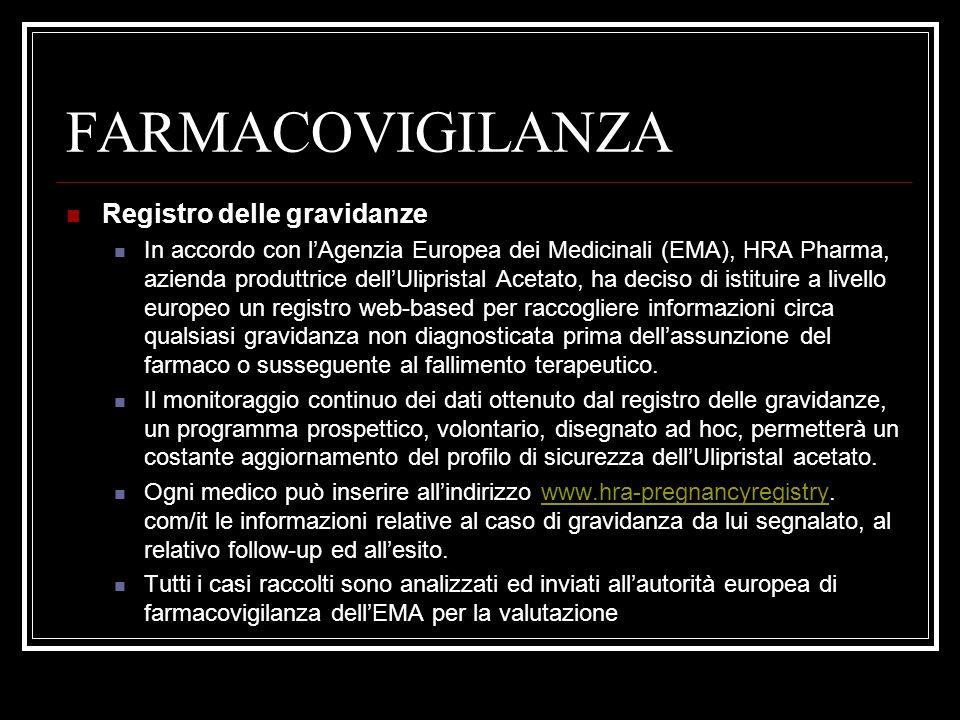 FARMACOVIGILANZA Registro delle gravidanze In accordo con lAgenzia Europea dei Medicinali (EMA), HRA Pharma, azienda produttrice dellUlipristal Acetat