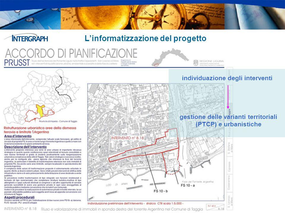 Linformatizzazione del progetto individuazione degli interventi gestione delle varianti territoriali (PTCP) e urbanistiche