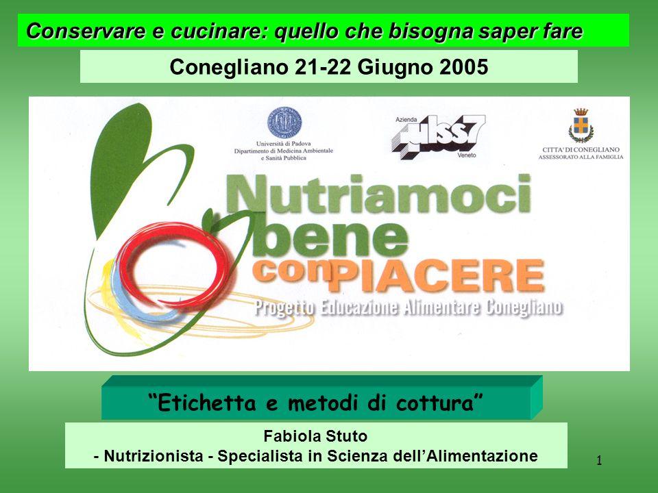F. Stuto1 Conservare e cucinare: quello che bisogna saper fare Conegliano 21-22 Giugno 2005 Etichetta e metodi di cottura Fabiola Stuto - Nutrizionist