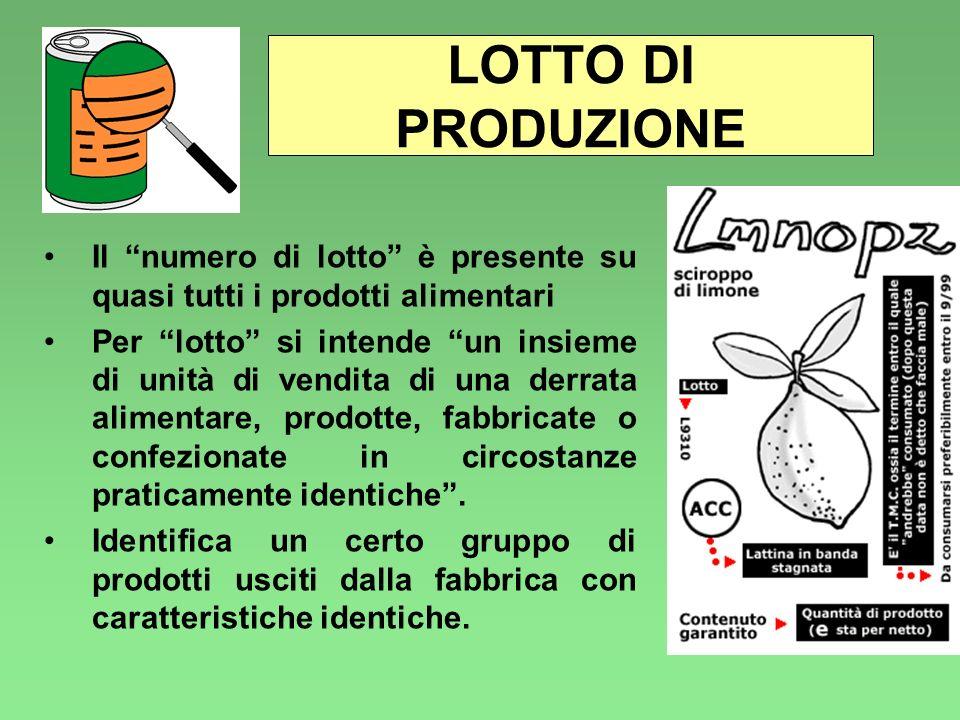 LOTTO DI PRODUZIONE Il numero di lotto è presente su quasi tutti i prodotti alimentari Per lotto si intende un insieme di unità di vendita di una derr