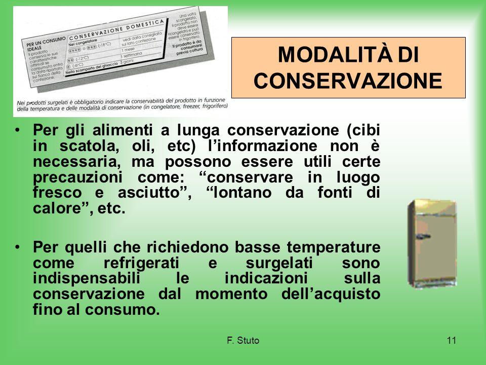 F. Stuto11 MODALITÀ DI CONSERVAZIONE Per gli alimenti a lunga conservazione (cibi in scatola, oli, etc) linformazione non è necessaria, ma possono ess