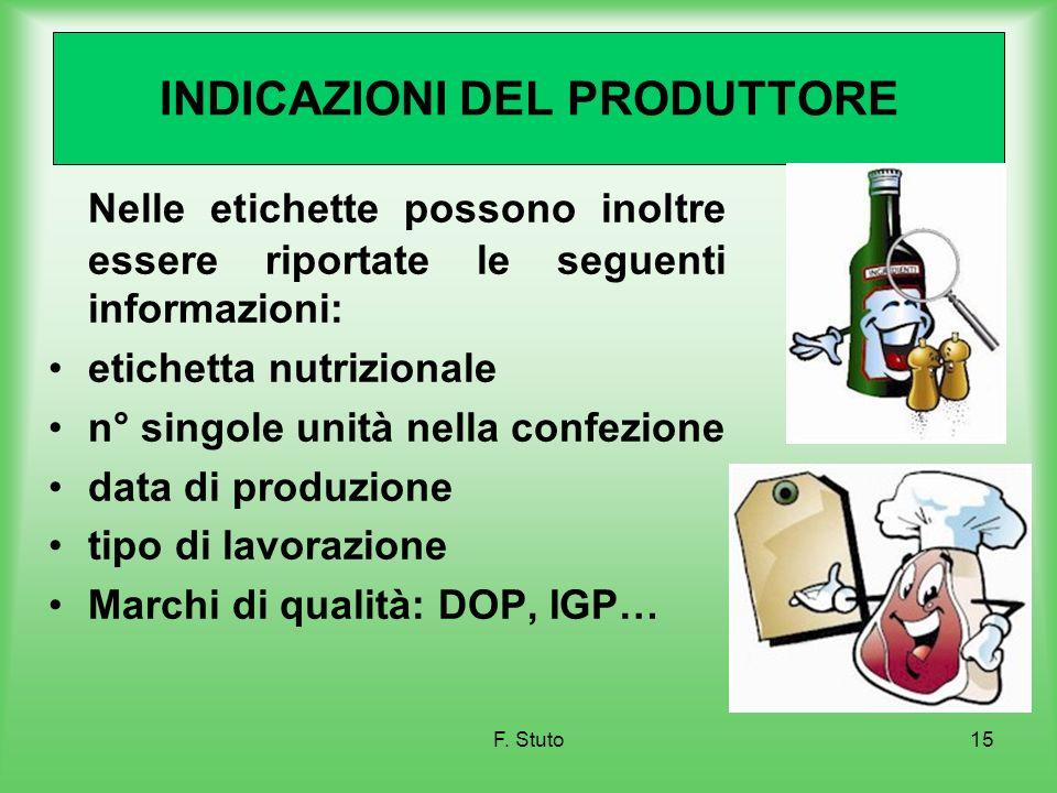 F. Stuto15 INDICAZIONI DEL PRODUTTORE Nelle etichette possono inoltre essere riportate le seguenti informazioni: etichetta nutrizionale n° singole uni