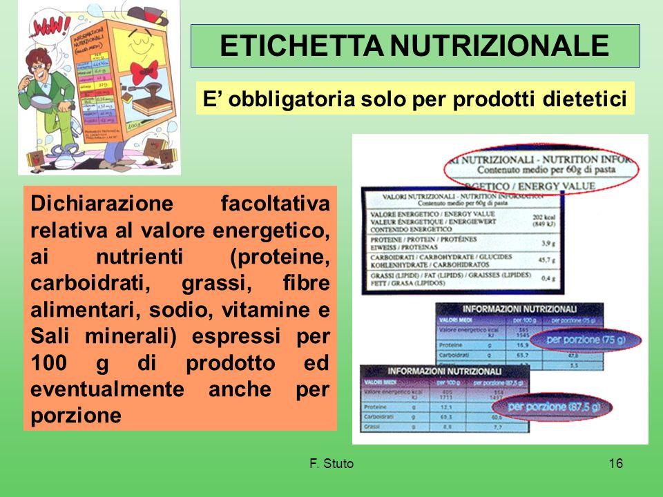 F. Stuto16 ETICHETTA NUTRIZIONALE Dichiarazione facoltativa relativa al valore energetico, ai nutrienti (proteine, carboidrati, grassi, fibre alimenta
