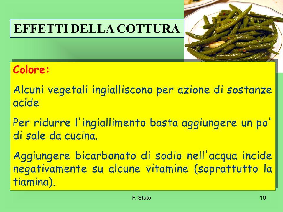 F. Stuto19 Colore: Alcuni vegetali ingialliscono per azione di sostanze acide Per ridurre l'ingiallimento basta aggiungere un po' di sale da cucina. A