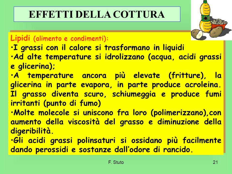 F. Stuto21 Lipidi (alimento e condimenti): I grassi con il calore si trasformano in liquidi Ad alte temperature si idrolizzano (acqua, acidi grassi e