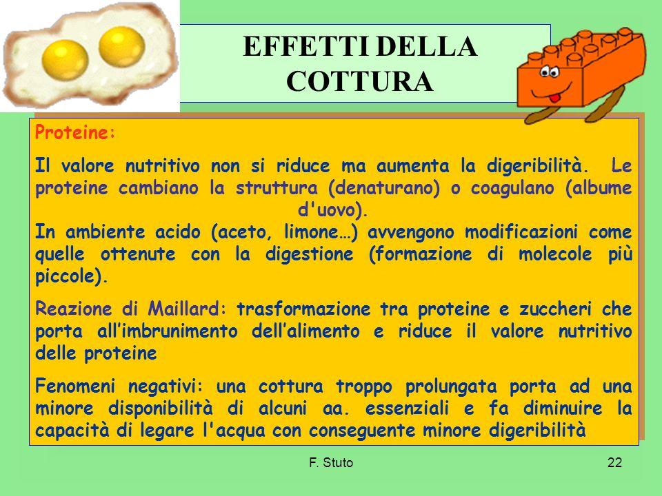 F. Stuto22 Proteine: Il valore nutritivo non si riduce ma aumenta la digeribilità. Le proteine cambiano la struttura (denaturano) o coagulano (albume