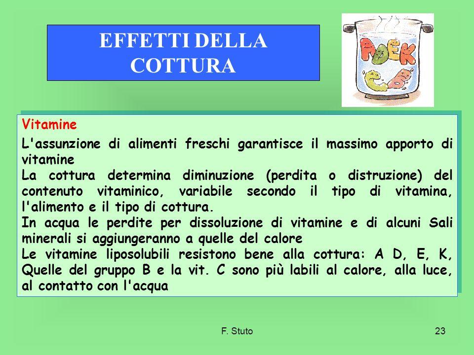 F. Stuto23 Vitamine L'assunzione di alimenti freschi garantisce il massimo apporto di vitamine La cottura determina diminuzione (perdita o distruzione