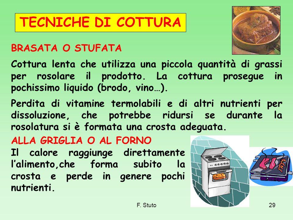 F. Stuto29 BRASATA O STUFATA Cottura lenta che utilizza una piccola quantità di grassi per rosolare il prodotto. La cottura prosegue in pochissimo liq