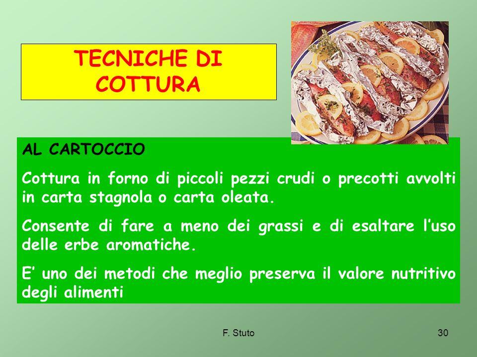 F. Stuto30 AL CARTOCCIO Cottura in forno di piccoli pezzi crudi o precotti avvolti in carta stagnola o carta oleata. Consente di fare a meno dei grass