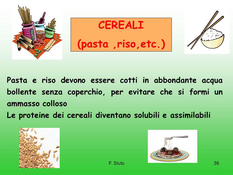 F. Stuto36 CEREALI (pasta,riso,etc.) Pasta e riso devono essere cotti in abbondante acqua bollente senza coperchio, per evitare che si formi un ammass