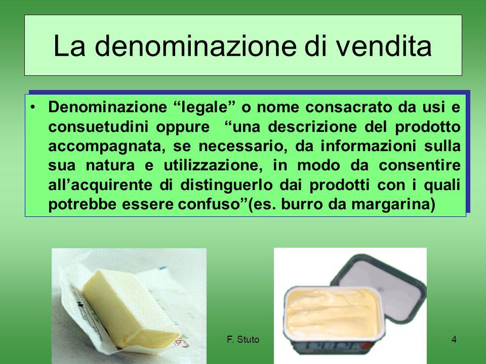 F. Stuto4 La denominazione di vendita Denominazione legale o nome consacrato da usi e consuetudini oppure una descrizione del prodotto accompagnata, s