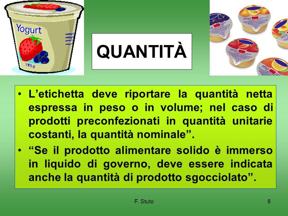F. Stuto6 QUANTITÀ Letichetta deve riportare la quantità netta espressa in peso o in volume; nel caso di prodotti preconfezionati in quantità unitarie