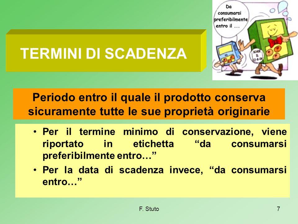 F. Stuto7 TERMINI DI SCADENZA Per il termine minimo di conservazione, viene riportato in etichetta da consumarsi preferibilmente entro… Per la data di