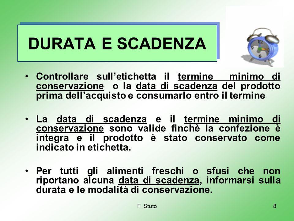 F. Stuto8 DURATA E SCADENZA Controllare sulletichetta il termine minimo di conservazione o la data di scadenza del prodotto prima dellacquisto e consu