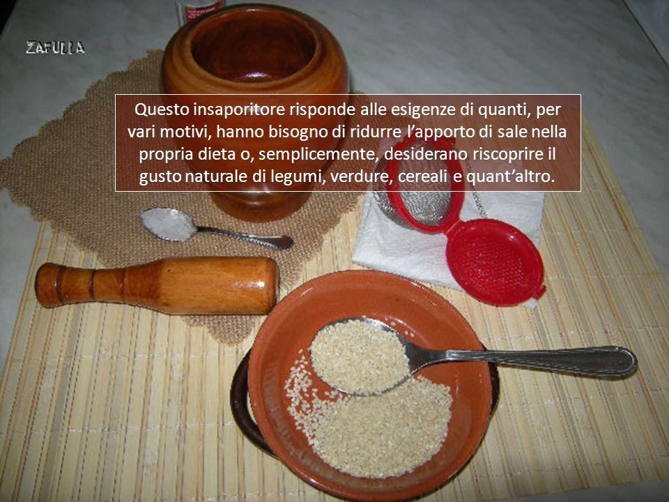 Il GOMASIO è un insaporitore, ottimo sostitutivo del sale, conosciutissimo nella cucina orientale e vegetariana. Il suo nome, giapponese, deriva da go