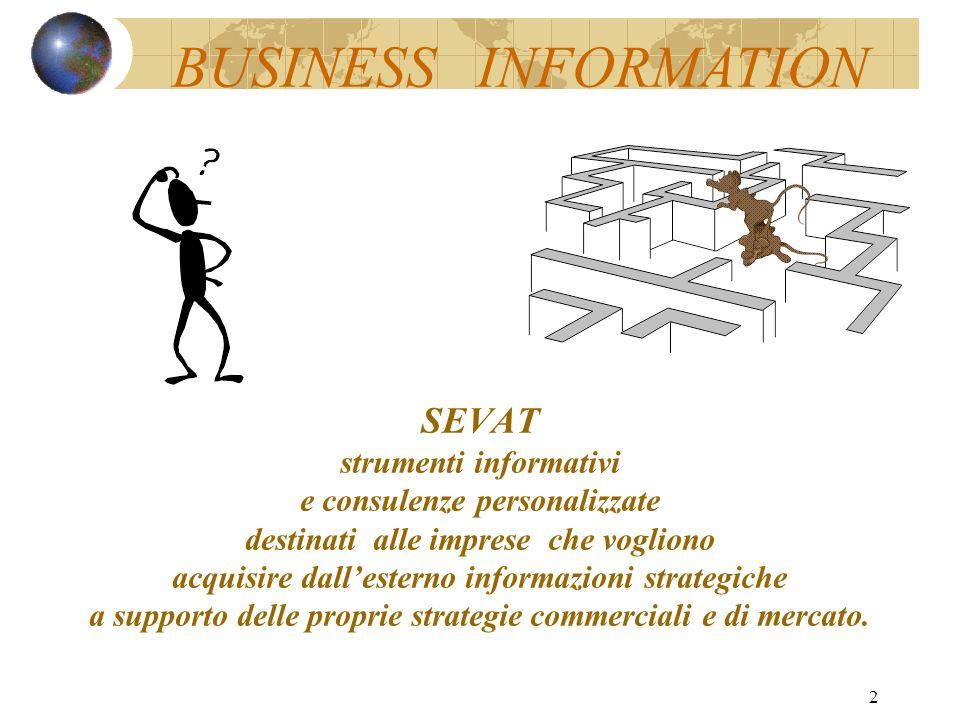 2 SEVAT strumenti informativi e consulenze personalizzate destinati alle imprese che vogliono acquisire dallesterno informazioni strategiche a supporto delle proprie strategie commerciali e di mercato.