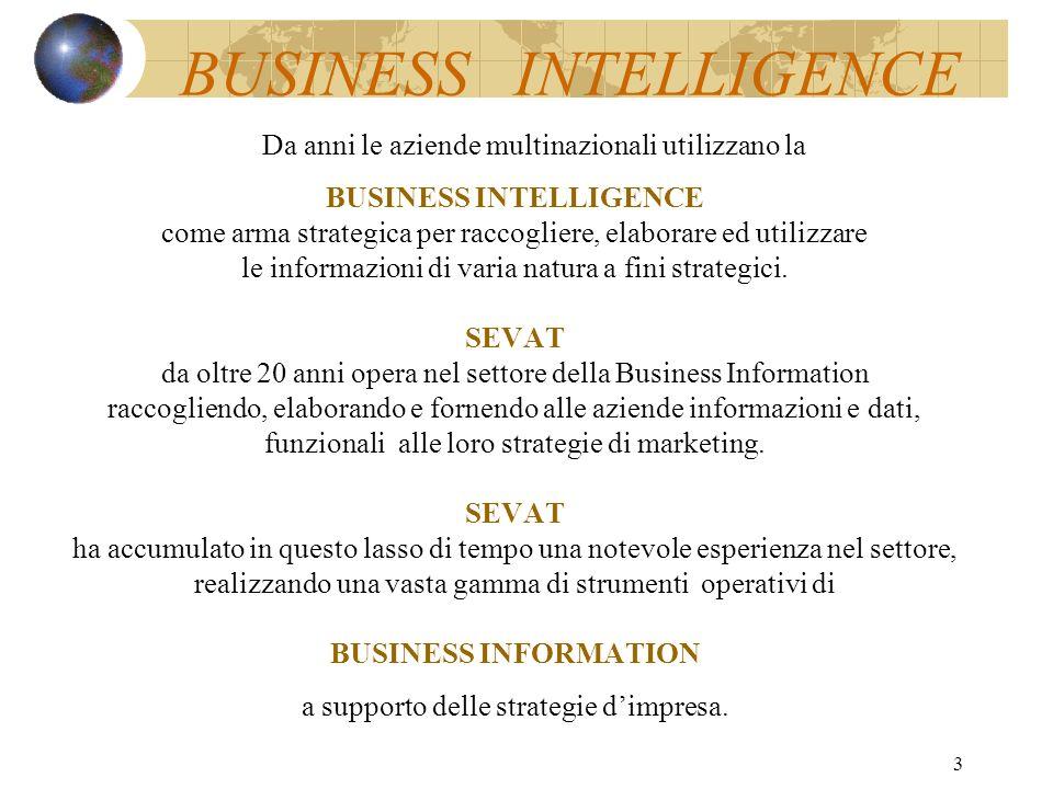 3 Da anni le aziende multinazionali utilizzano la BUSINESS INTELLIGENCE come arma strategica per raccogliere, elaborare ed utilizzare le informazioni di varia natura a fini strategici.