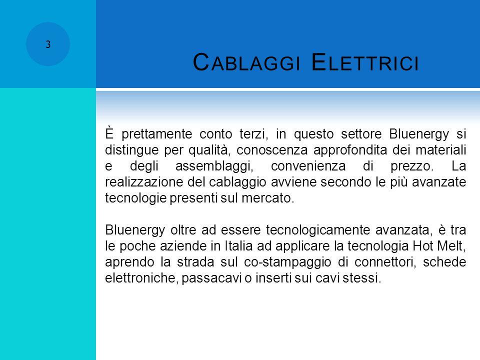 C ABLAGGI E LETTRICI 3 È prettamente conto terzi, in questo settore Bluenergy si distingue per qualità, conoscenza approfondita dei materiali e degli assemblaggi, convenienza di prezzo.