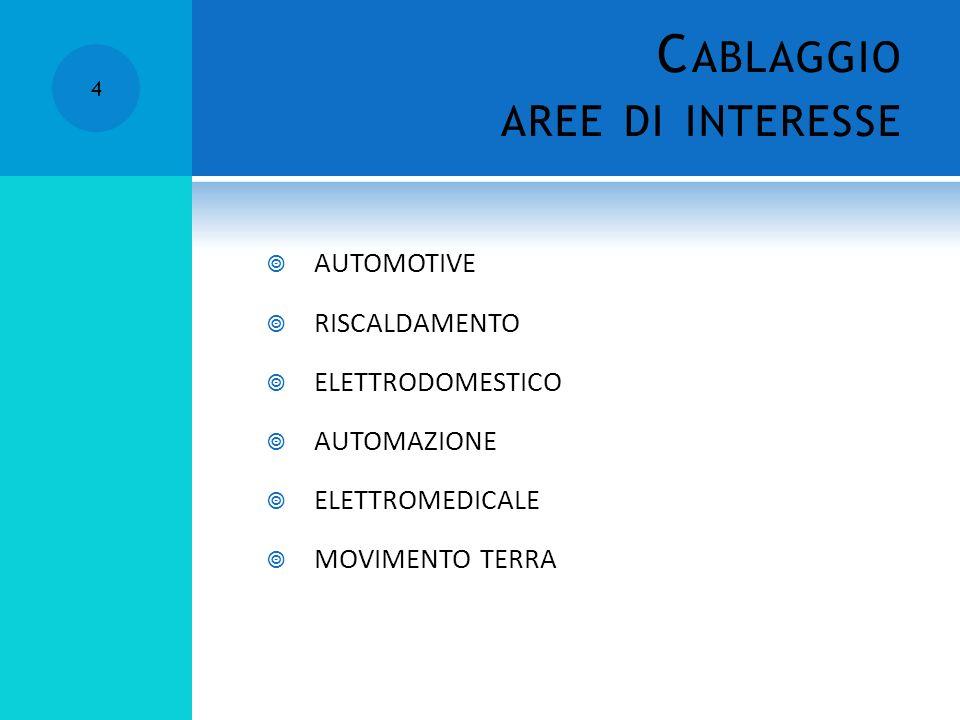 C ABLAGGIO AREE DI INTERESSE 4 AUTOMOTIVE RISCALDAMENTO ELETTRODOMESTICO AUTOMAZIONE ELETTROMEDICALE MOVIMENTO TERRA