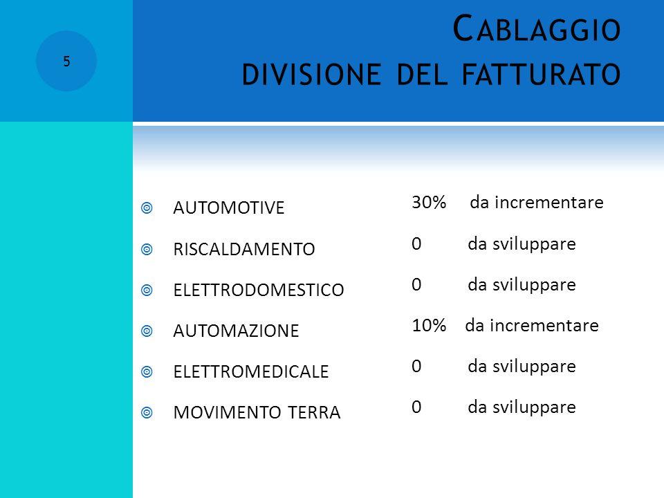 5 C ABLAGGIO DIVISIONE DEL FATTURATO AUTOMOTIVE RISCALDAMENTO ELETTRODOMESTICO AUTOMAZIONE ELETTROMEDICALE MOVIMENTO TERRA 30% da incrementare 0 da sviluppare 10% da incrementare 0 da sviluppare