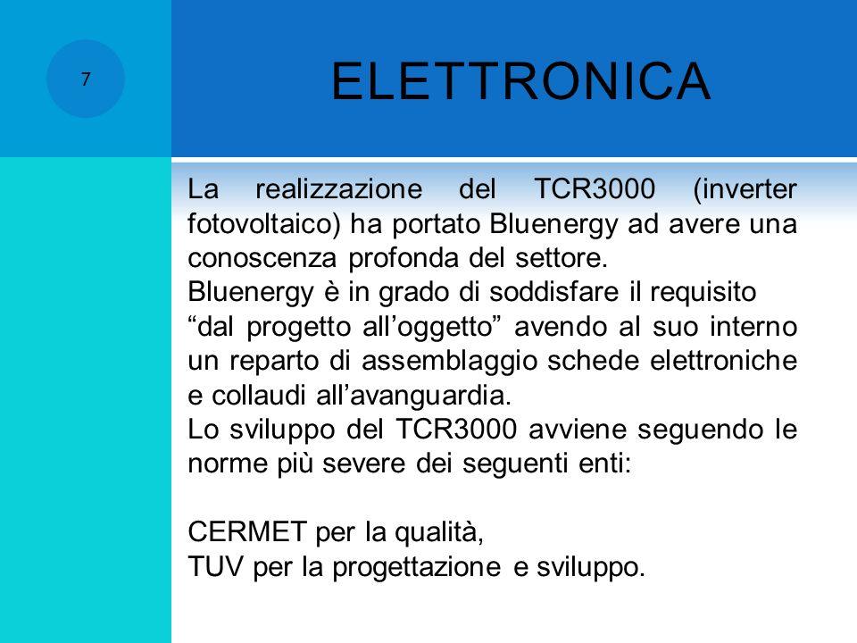 ELETTRONICA 7 La realizzazione del TCR3000 (inverter fotovoltaico) ha portato Bluenergy ad avere una conoscenza profonda del settore.