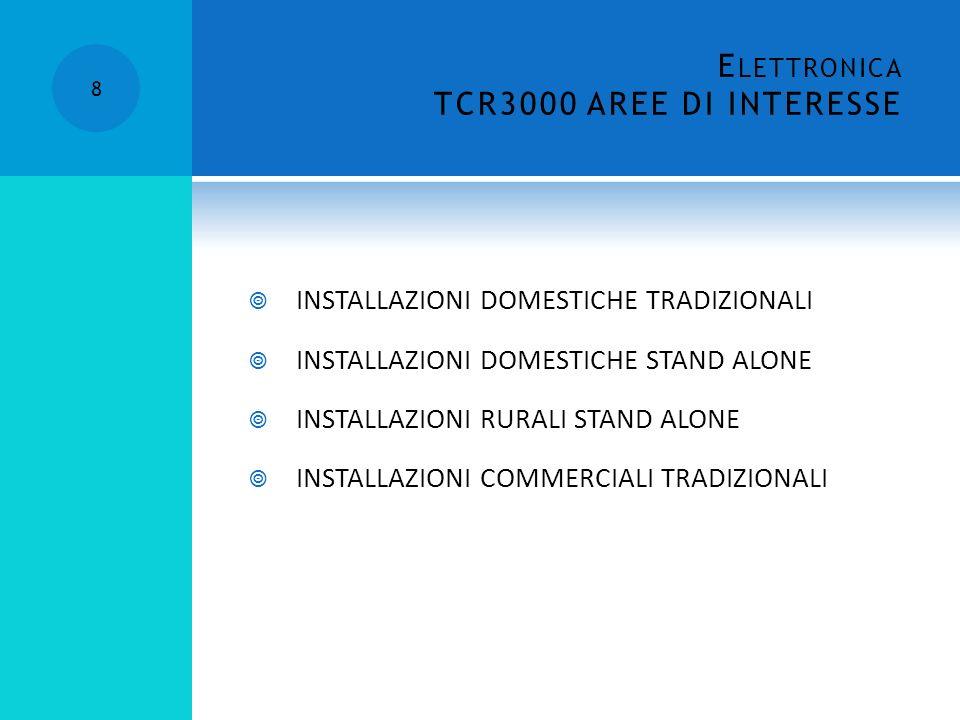 E LETTRONICA TCR3000 AREE DI INTERESSE 8 INSTALLAZIONI DOMESTICHE TRADIZIONALI INSTALLAZIONI DOMESTICHE STAND ALONE INSTALLAZIONI RURALI STAND ALONE INSTALLAZIONI COMMERCIALI TRADIZIONALI