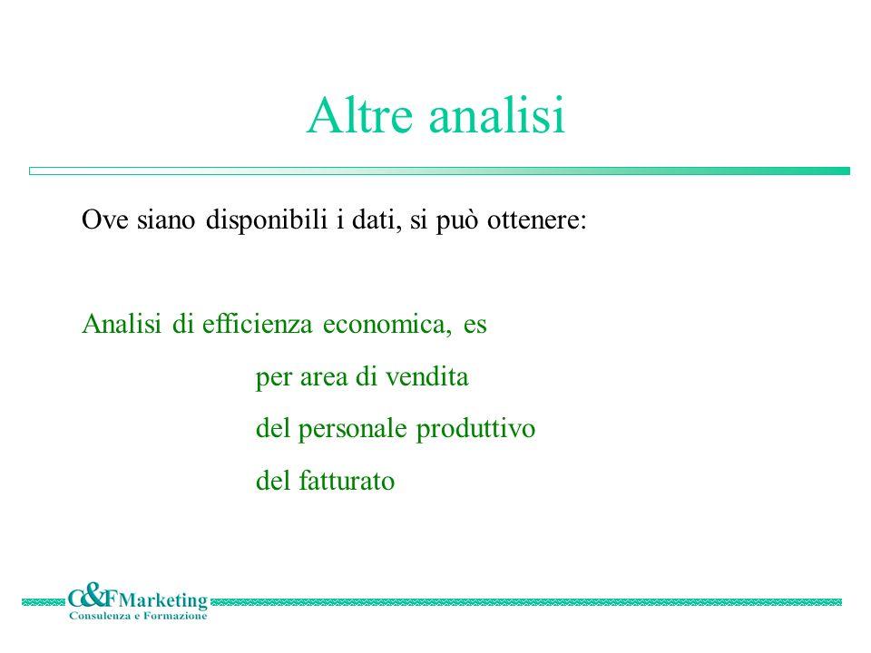 Altre analisi Ove siano disponibili i dati, si può ottenere: Analisi di efficienza economica, es per area di vendita del personale produttivo del fatturato