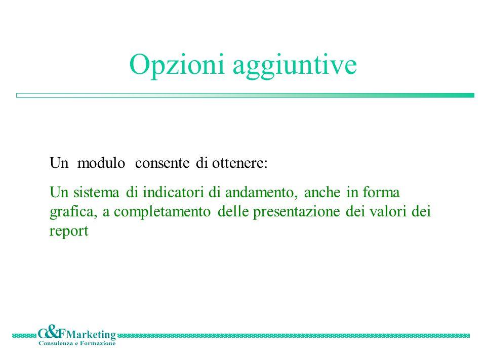 Opzioni aggiuntive Un modulo consente di ottenere: Un sistema di indicatori di andamento, anche in forma grafica, a completamento delle presentazione dei valori dei report