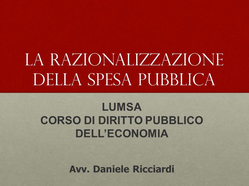 LUMSA CORSO DI DIRITTO PUBBLICO DELLECONOMIA Avv.