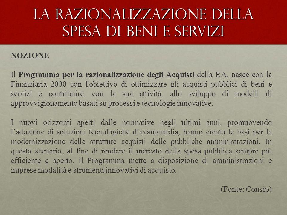 La Razionalizzazione della spesa di beni e servizi NOZIONE Il Programma per la razionalizzazione degli Acquisti della P.A.