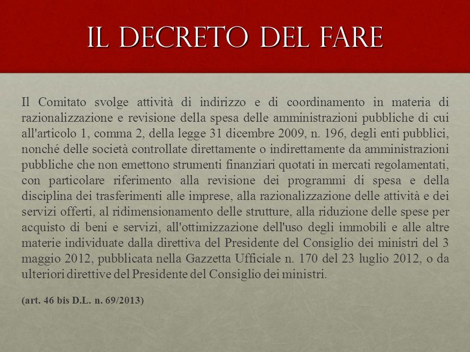 Spending review 2.0 Commissario Straordinario D.L.