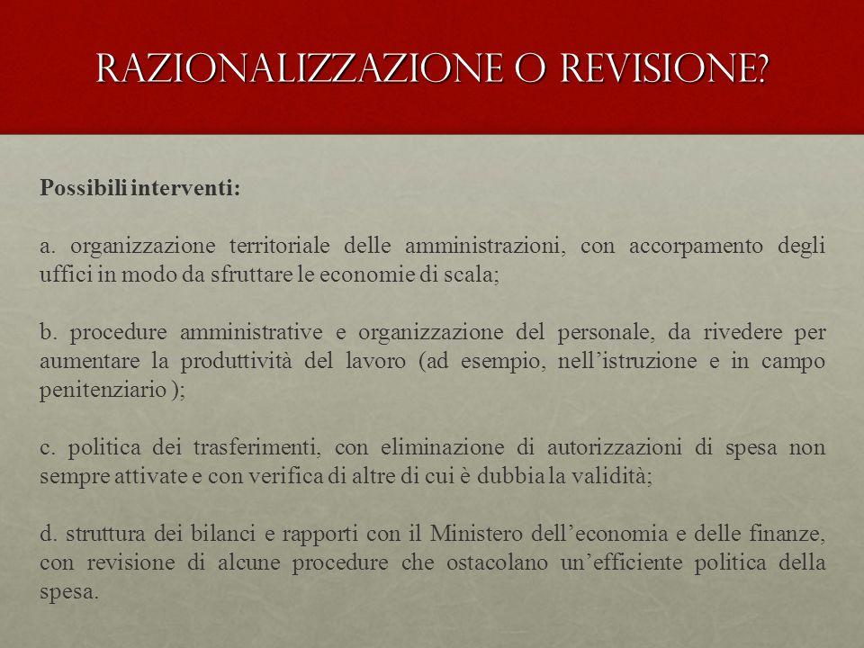 Razionalizzazione o revisione. Possibili interventi: a.