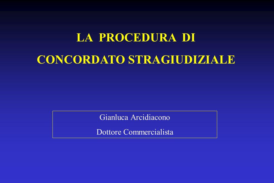 LA PROCEDURA DI CONCORDATO STRAGIUDIZIALE Gianluca Arcidiacono Dottore Commercialista