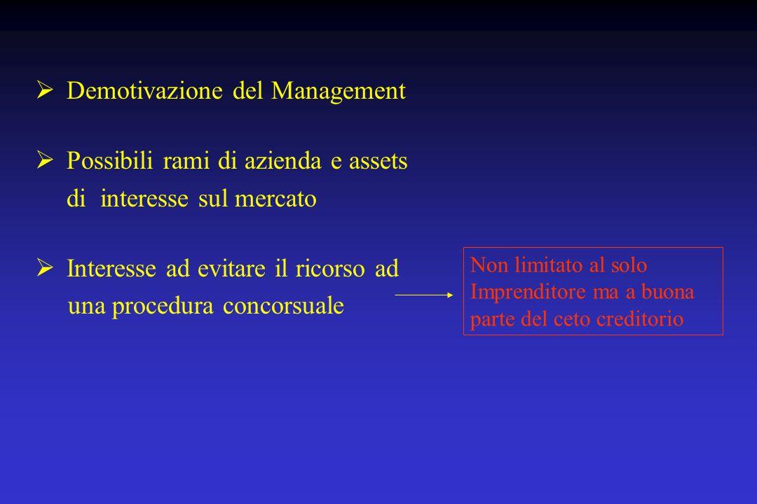 Demotivazione del Management Possibili rami di azienda e assets di interesse sul mercato Interesse ad evitare il ricorso ad una procedura concorsuale
