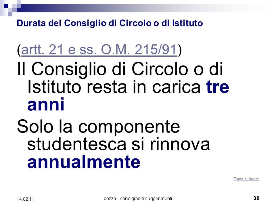 bozza - sono graditi suggerimenti30 14.02.11 Durata del Consiglio di Circolo o di Istituto (artt.