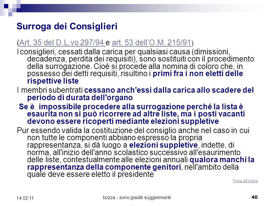 bozza - sono graditi suggerimenti40 14.02.11 Surroga dei Consiglieri (Art.