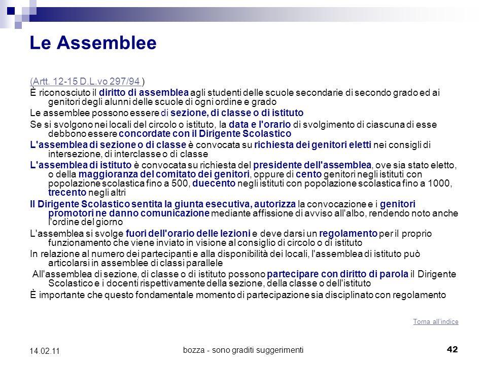 bozza - sono graditi suggerimenti42 14.02.11 Le Assemblee (Artt.