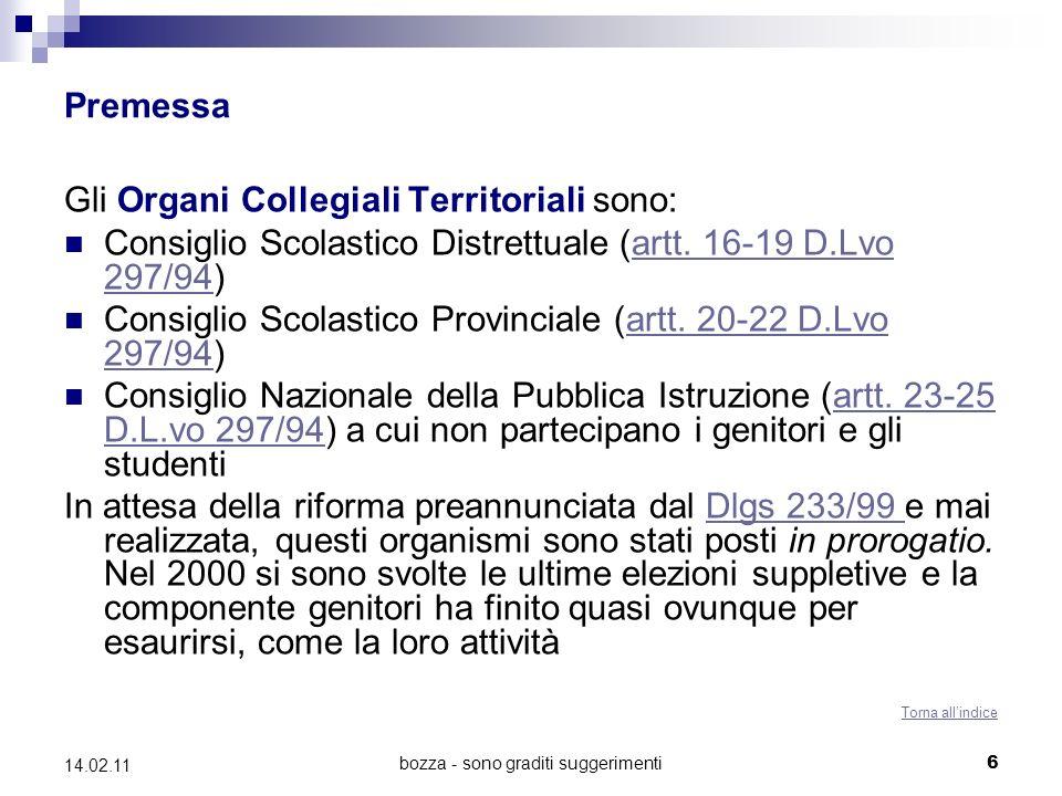 bozza - sono graditi suggerimenti6 14.02.11 Premessa Gli Organi Collegiali Territoriali sono: Consiglio Scolastico Distrettuale (artt.
