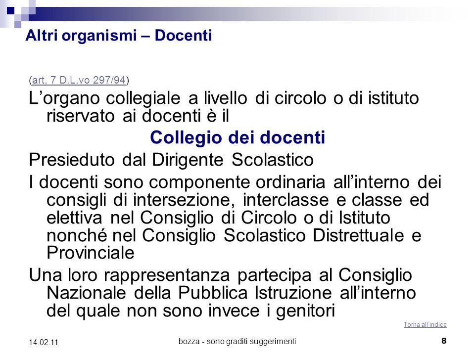 bozza - sono graditi suggerimenti19 14.02.11 Adunanze degli organi collegiali e validità delle deliberazioni (Artt.